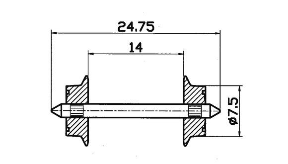 lagerBSkivhjul AC 7,5mm, Roco