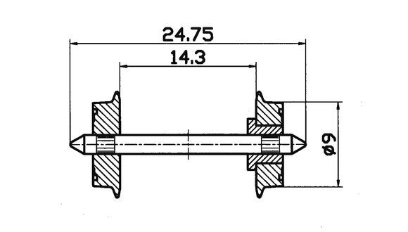 lagerxSkivhjul DC 9mm, Roco