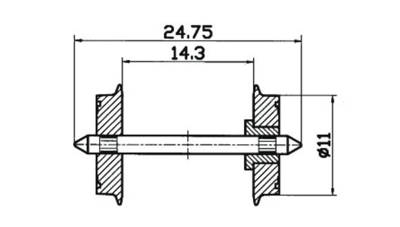 lagerxSkivhjul DC 11mm, Roco