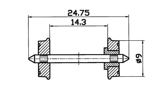 lagerxSkivhjul RP-25 9mm, Roco